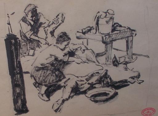 Théodore VAN ELSEN - Dibujo Acuarela - Le boeuf