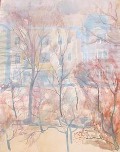 Paul MECHLEN - 水彩作品 - Häuser hinter Bäumen.
