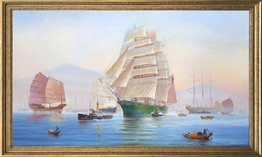 Stephen J. RENARD - Pittura -  Clipper 'Thermopylae' leaving Fuchow at Dawn