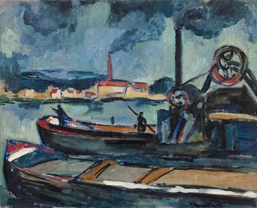 Maurice DE VLAMINCK - Painting - Péniches sur la Seine à Chatou