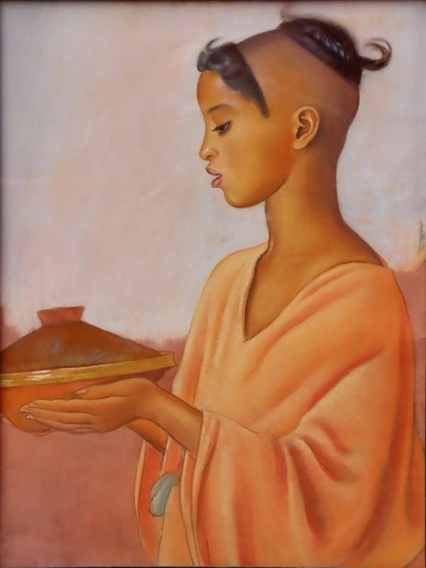 "René MARTIN - Drawing-Watercolor - ""JEUNE BERBERE AU TAJINE"""