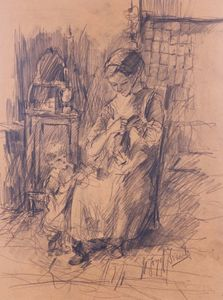 Jozef ISRAELS - Drawing-Watercolor - Lady with a Child