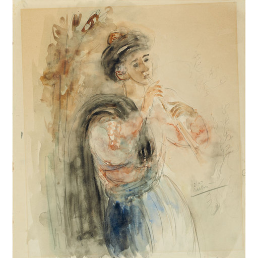 Reuven RUBIN - Drawing-Watercolor - Flute Player