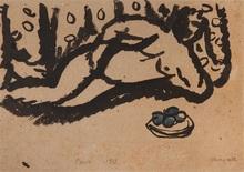 马克•夏加尔 - 水彩作品 - Nu aux pommes