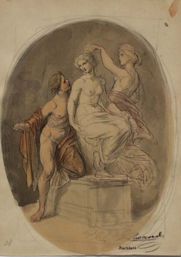 "Josef HASSLWANDER - Dessin-Aquarelle - Allegorical Scene"" by Josef Hasslwander, mid. 19th Century"