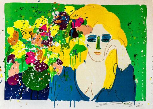 TING Walasse - Grabado - Lady With Vase