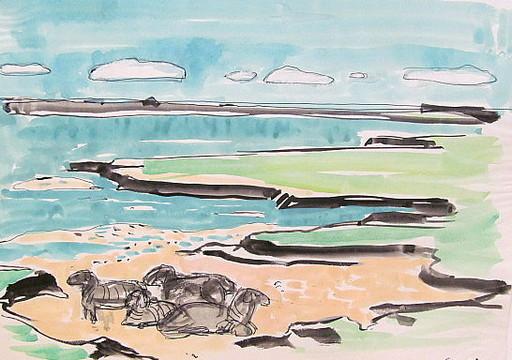 Paul MECHLEN - Drawing-Watercolor - Schafe am Küstensaum.