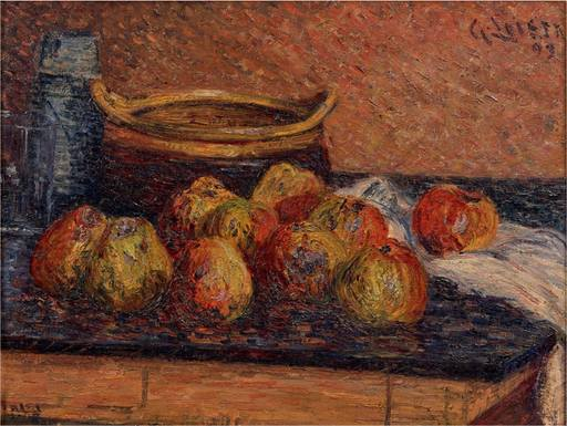 Gustave LOISEAU - Pintura - Nature morte aux pommes