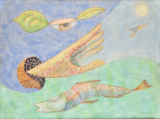 Léopold SURVAGE - Drawing-Watercolor - Œil Main Poisson