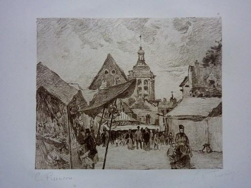 Camille  PISSARRO & Georges W.  THORNLEY - Grabado - Honfleur, le marché