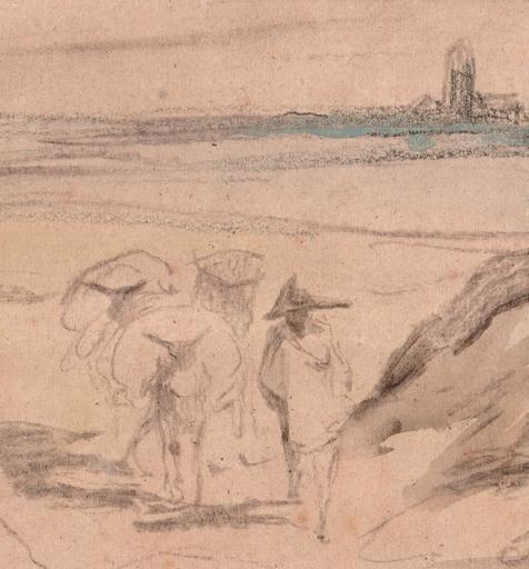 Alexandre Gabriel DECAMPS - Dibujo Acuarela - Voyageur et ses mulets