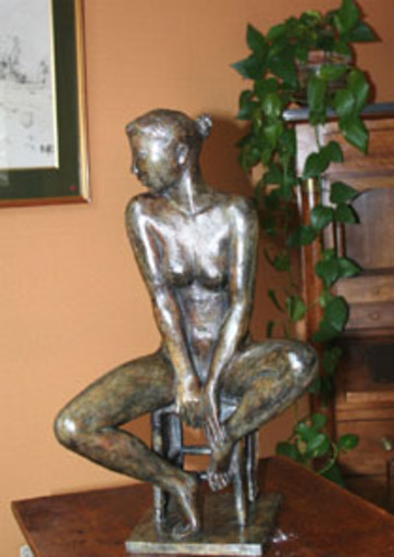 Jacques COQUILLAY - Escultura - Gaëlle au tabouret