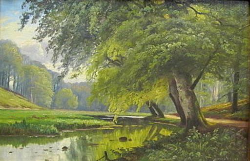 August JACOBSEN - 绘画 - Das Alstertal bei Poppenbüttel.
