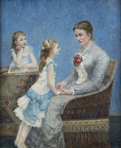 Albert DUBOIS-PILLET - Painting - Madame Paul Bouchet et ses filles