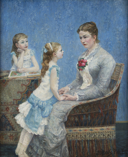 Albert DUBOIS-PILLET - Pittura - Madame Paul Bouchet et ses filles