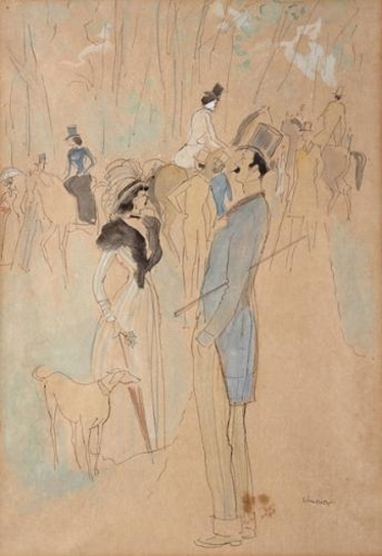 David SCHNEUER - Dibujo Acuarela - At the Horse Races