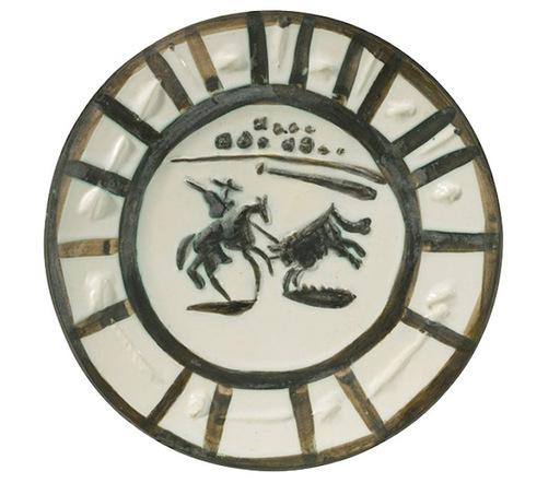Pablo PICASSO - Ceramic - Assiette ronde Picador