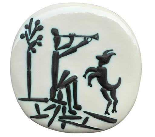 Pablo PICASSO - Keramiken - Joueur de flûte et chèvre (A.R.382)