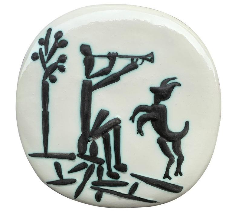 Pablo PICASSO - Ceramic - Joueur de flûte et chèvre