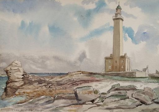 Alfred KELLER - Dibujo Acuarela - Phare de l'Ile Vierge - Finistère - (KP18)