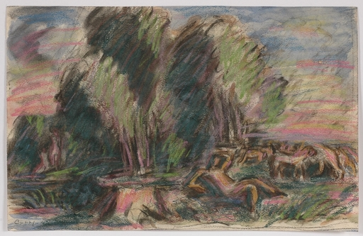 "Adolf CURRY - Dessin-Aquarelle - ""Arcadian Landscape"", 1920's"