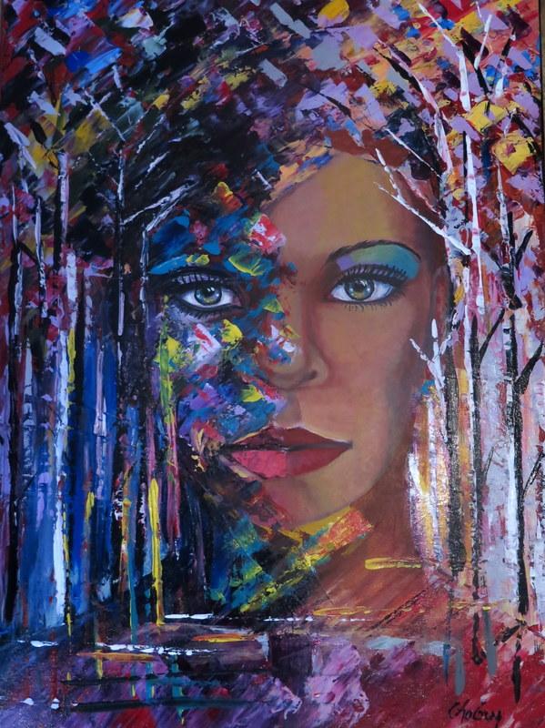 CHAGUY - Peinture - Émergence de la nature en couleur