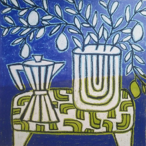 Gordon HOPKINS - Painting - Coffee pot with lemon tree in blue