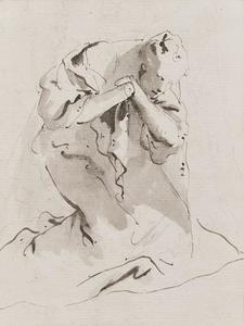 Lorenzo TIEPOLO - Drawing-Watercolor - Personnage à genoux