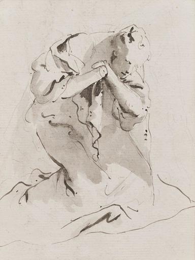 Lorenzo TIEPOLO - Dibujo Acuarela - Personnage à genoux