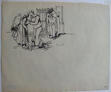 Frans MASEREEL - Drawing-Watercolor - « Brest », adieu du marin à sa mère