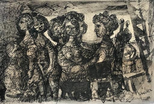 Eugène FIDLER - Dibujo Acuarela - Personnages