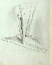 Camille BRYEN - Dibujo Acuarela - Surrealist composition with Arm (Graphite)