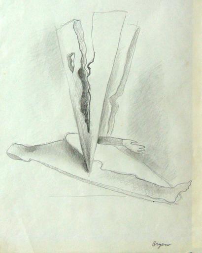 Camille BRYEN - Dessin-Aquarelle - Surrealist composition with Arm (Graphite)