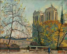 Pierre LEPAGE - Pintura - Notre Dame vue des quais de la Seine, 1940-1950