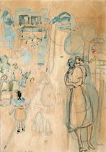 Joseph ZARITSKY - Drawing-Watercolor - Zichron Yaacov, Figuers in the Street, 1940