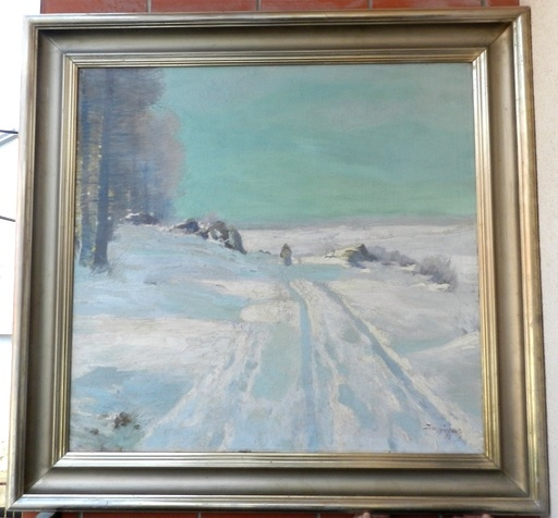 Josef SVOBODA - Painting - Winter landscape with a figure of a woman