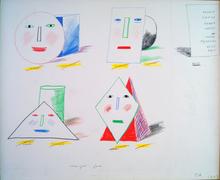 David HOCKNEY (1937) - Four geometrically drawn heads