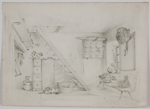 """Edward SWOBODA - Disegno Acquarello - """"Tyrolean Interior"""", middle 19th Century"""