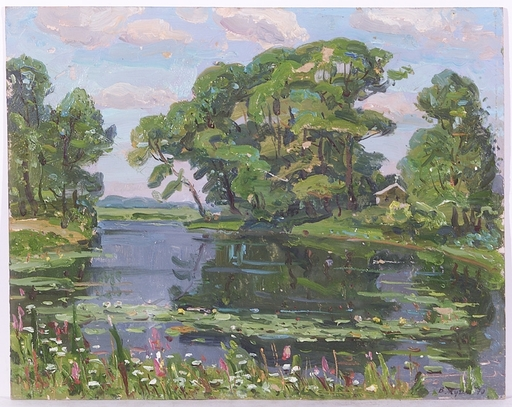 "Vladimir Aleksandrovich ZHUGAN - Painting - ""Riverscape"", Oil Painting, 1970"