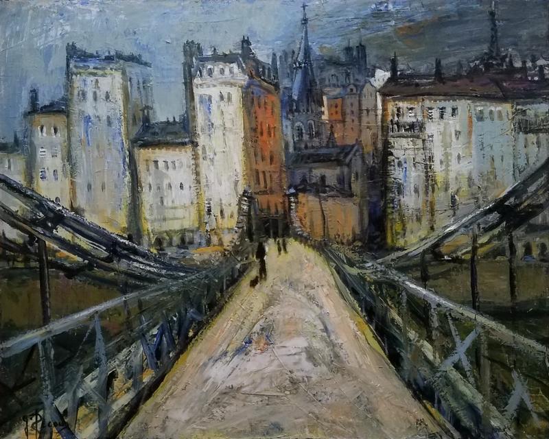 Gilbert PECOUD - Painting - La passerelle