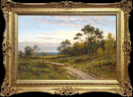 Alfred Augustus I GLENDENING - Pittura - Herding the Sheep along the Country Lane