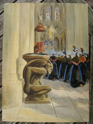 Jehanne MAZELINE - Drawing-Watercolor - BRETONNES EN PRIERE A DINAN