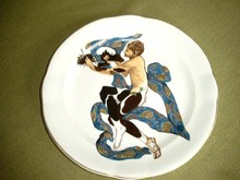 Léon BAKST - Ceramic - Four porcelain plates with costume designs by Bakst