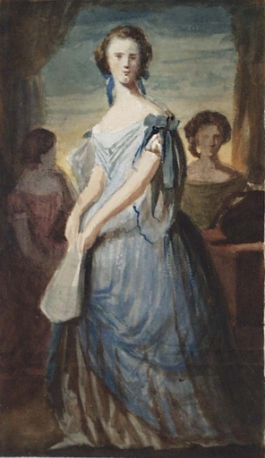 "Zeichnung Aquarell - ""Ladies at Window"" attrib. to Constantin Guys, 19th Century"