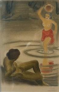 André MARGAT - Disegno Acquarello - Femme remplissant des cruches d'eau
