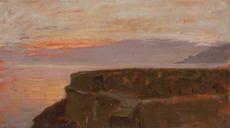 François BOCION - Painting - Coucher de soleil sur le Léman (Rivaz)