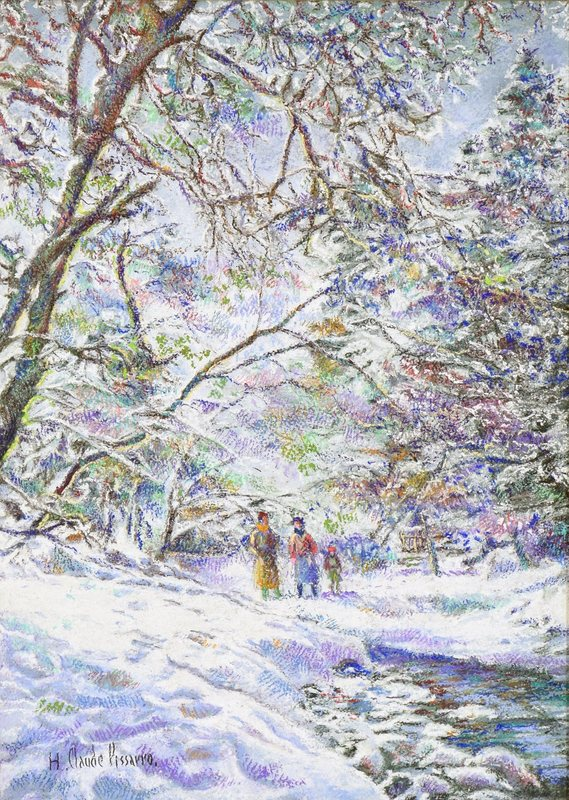 Hugues Claude PISSARRO - Drawing-Watercolor - Cantepie, Sous la Neige