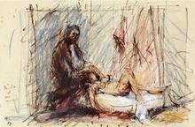 Jean HÉLION - Drawing-Watercolor - Le peintre et son modèle