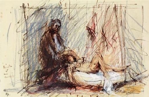 Jean HÉLION - Disegno Acquarello - Le peintre et son modèle