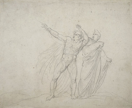 Giuseppe BOSSI - Drawing-Watercolor - DANTE AND VIRGIL BEFORE AN APPARITION